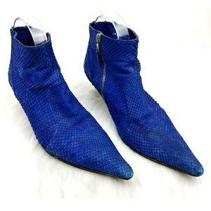 Dries Van Noten Blue Snakeskin Pointed Toe Booties